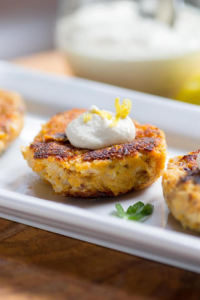 Sweet Potato Cauliflower Cakes with Dairy-Free Cashew Sour Cream Sweet - vegetable patties made with ground flaxseed and pan-fried in coconut oil. Vegan, gluten-free, and dairy-free. | QueenofMyKitchen.com
