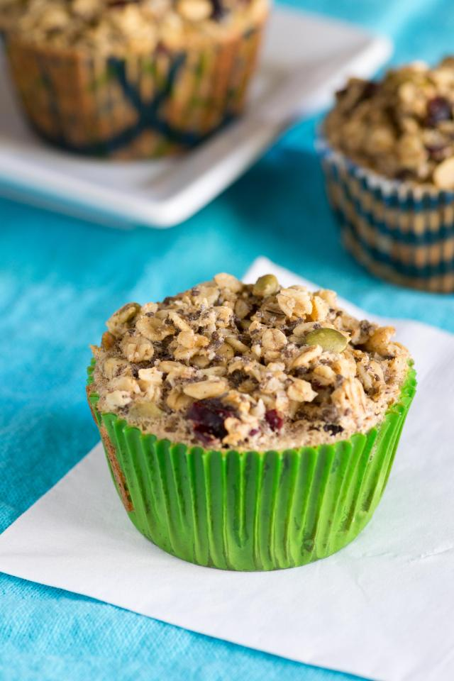 Cranberry Pepita Oatmeal Cups - A delicious and nutritious alternative to muffins with only 2 grams of sugar per serving! Gluten-free too.   QueenofMyKitchen.com