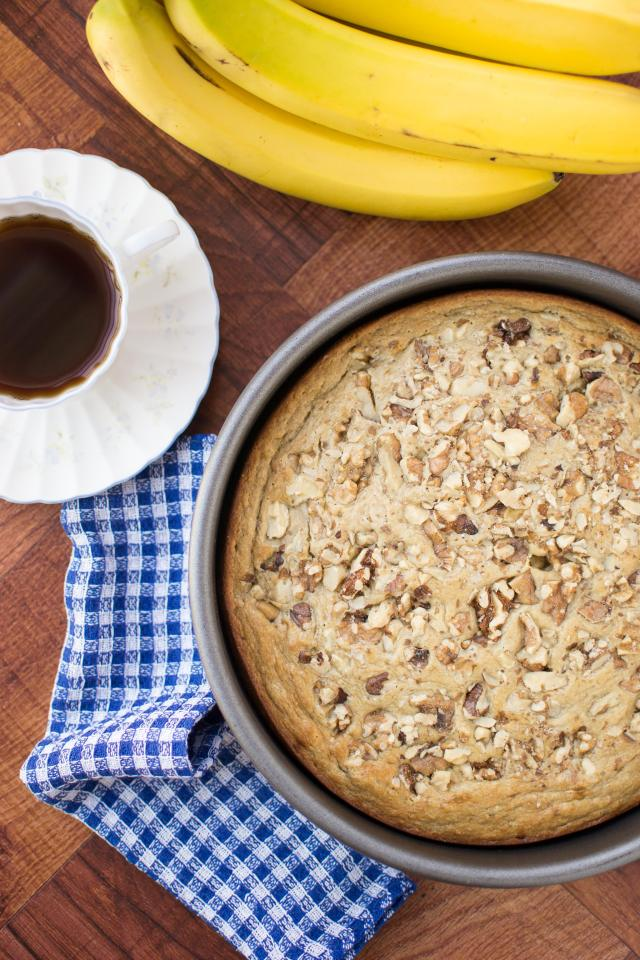 Banana Cashew Blender Cake - The easiest cake you'll ever make - incredibly moist cake with intense banana flavor. And bonus, it's gluten-free and contains no refined sugar!   QueenofMyKitchen.com