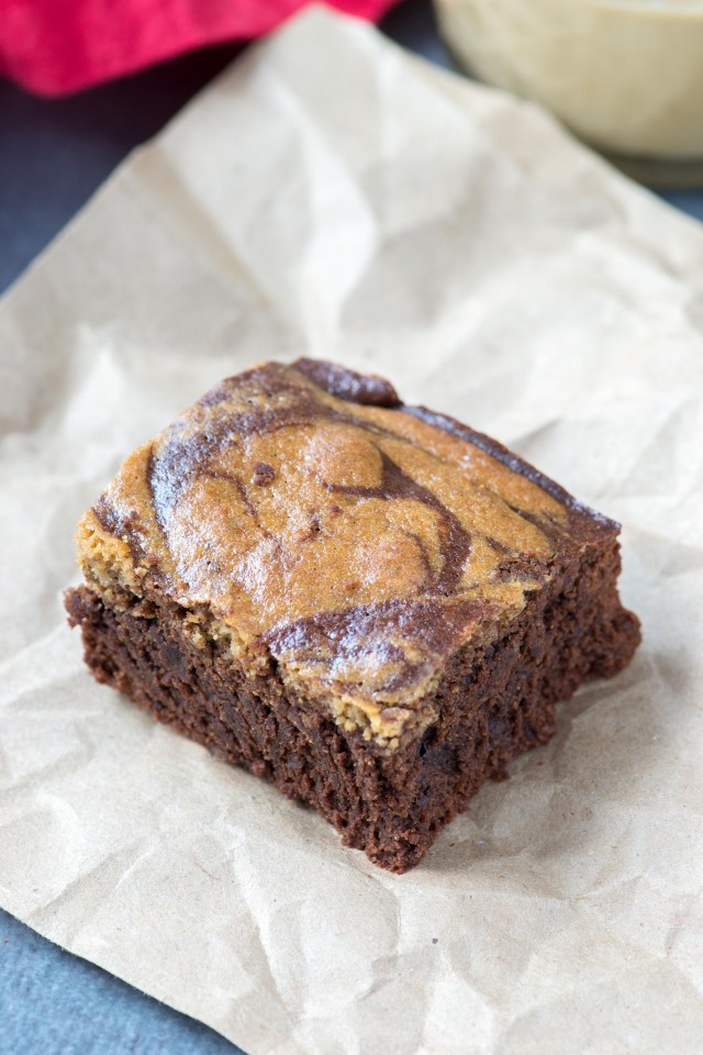 Paleo Tahini Swirl Brownies - pretty brownies with sophisticated taste and rich chocolate flavor. | QueenofMyKitchen.com