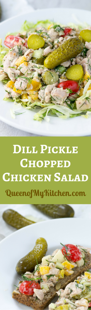 Dill Pickle Chopped Chicken Salad - A sophisticated chicken salad with dill pickle flavor - colorful, delicious, and super crunchy. Gluten-free. | QueenofMyKitchen.com