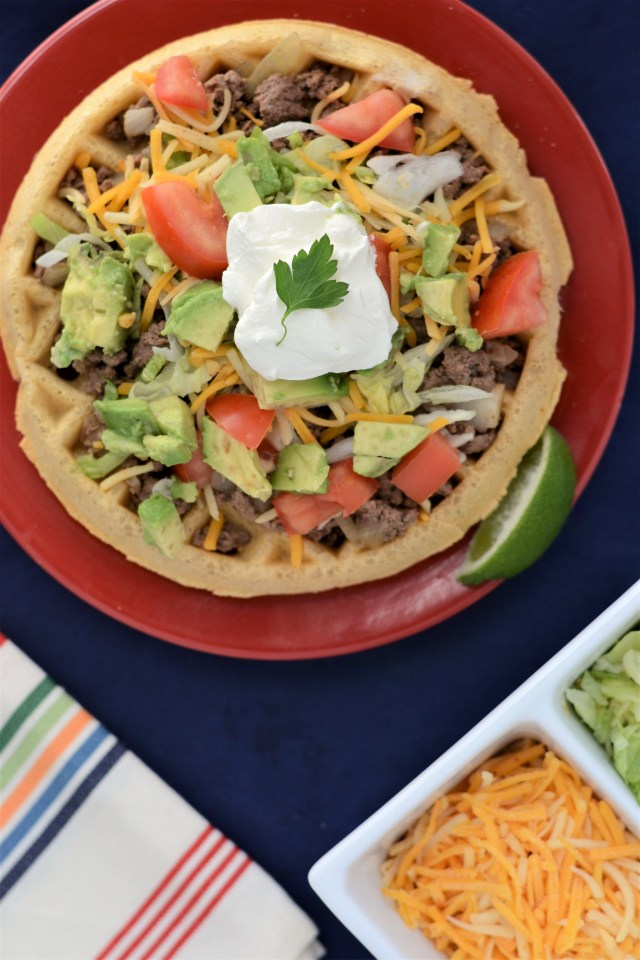 Chickpea Waffle Tacos – Get creative on Taco Tuesday or any night of the week! Classic taco flavors on a savory, crispy, gluten-free waffle made with chickpea flour. | QueenofMyKitchen.com
