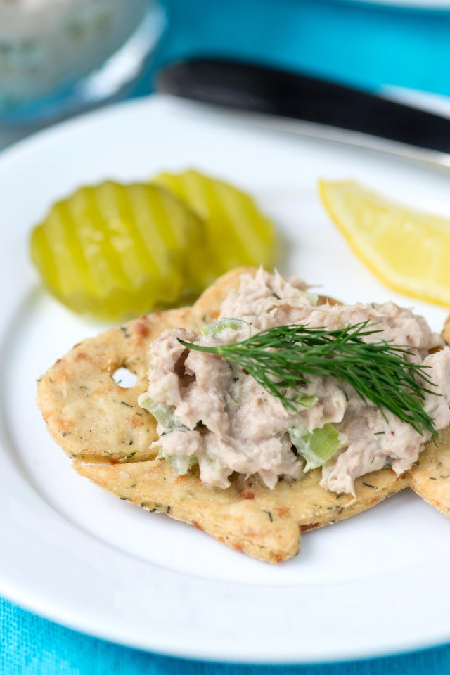 Clean Tuna Salad on Gluten-Free Dill Crackers – A lighter, cleaner, healthier tuna salad made with homemade avocado mayonnaise and served on crunchy, gluten-free dill crackers. | QueenofMyKitchen.com