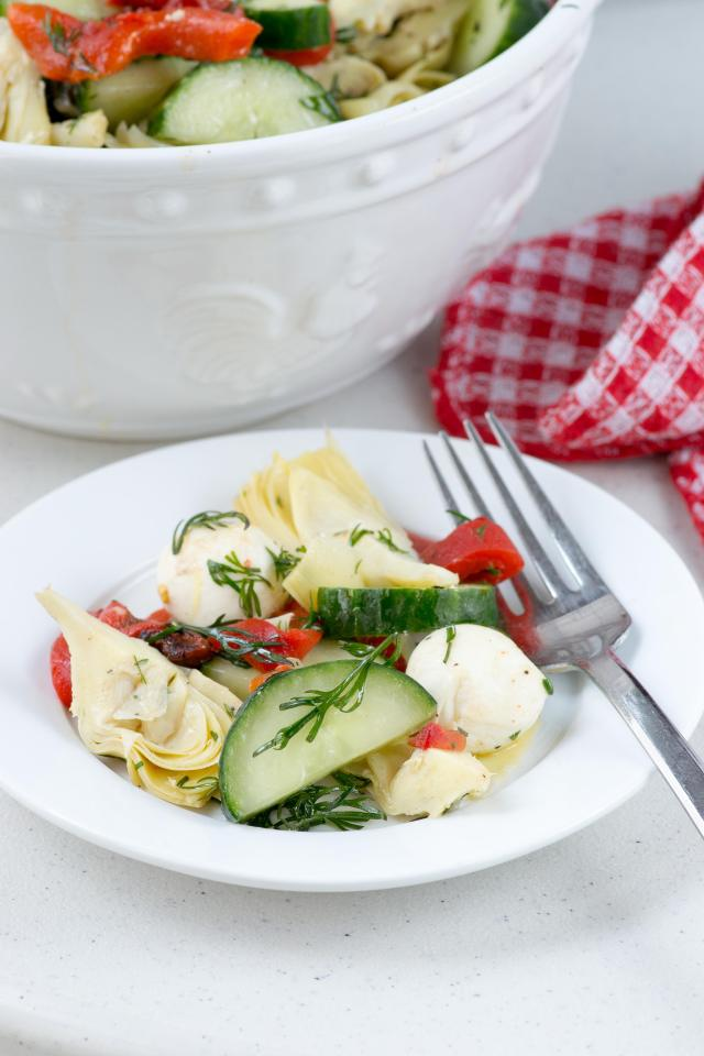Cucumber Antipasto Salad - A simple and healthy throw-together salad with classic antipasto flavors. | QueenofMyKitchen.com