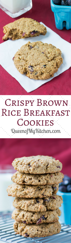 Crispy Brown Rice Breakfast Cookies – A delicious gluten-free, grab-and-go breakfast treat made with healthy, wholesome ingredients. Great as a snack or dessert too. | QueenofMyKitchen.com