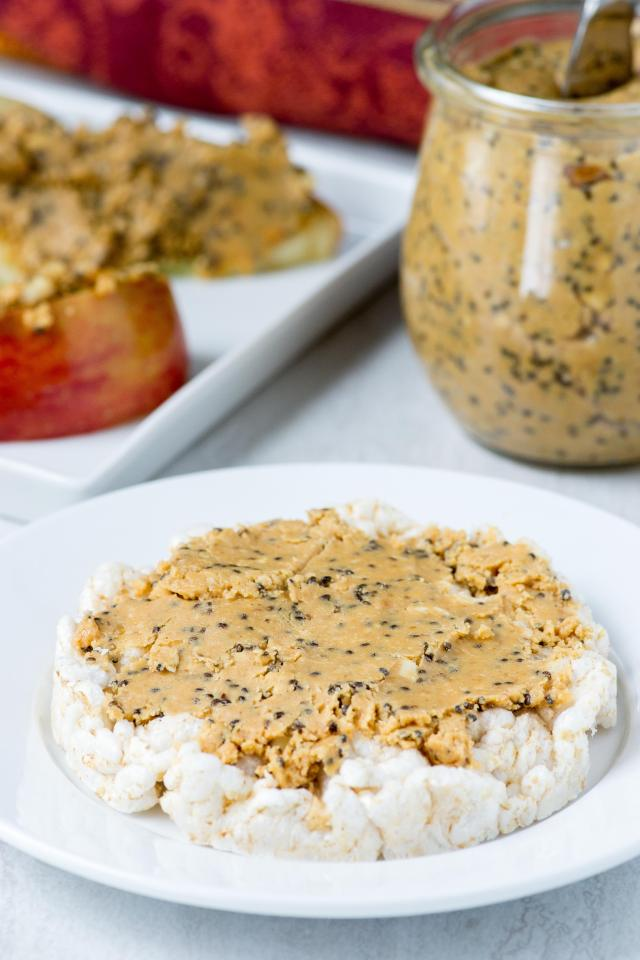 Sweet and Salty Chia Flax Peanut Butter - The magical combination of salty and sweet in a peanut butter with a nutrient boost from chia seeds and flax seeds. | QueenofMyKitchen.com