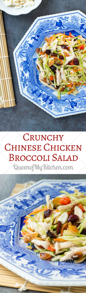 Crunchy Chinese Chicken Broccoli Salad – Classic Asian flavors shine through in this super crunchy, gluten-free, broccoli slaw salad. Delicious with shrimp, beef, or pork too. | QueenofMyKitchen.com