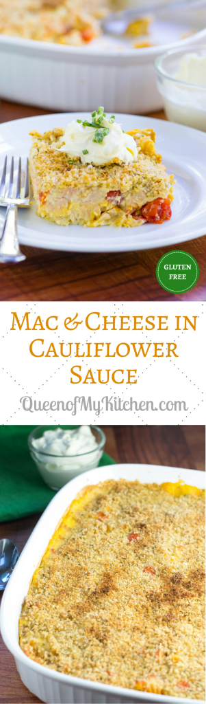 Mac and Cheese in Cauliflower Sauce – A rich and creamy sauce made from cauliflower is the base for this delicious, gluten-free pasta casserole. | QueenofMyKitchen.com