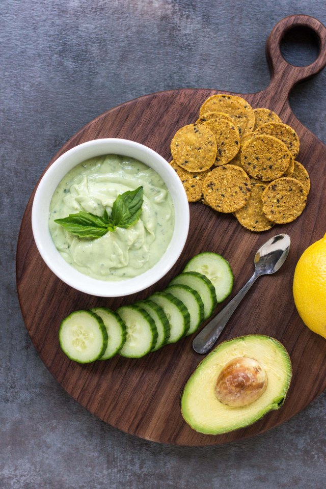 Kefir Avocado Basil Dressing – A light, creamy, delicious dressing infused with fresh basil and chock-full of probiotics. Use it as a salad dressing, dipping sauce or sandwich spread. | QueenofMyKitchen.com #probiotics #kefir #healthyrecipe #healthyeating