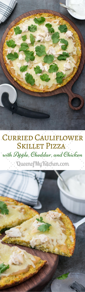Curried Cauliflower Skillet Pizza with Apple, Cheddar, and Chicken – A unique, gluten-free pizza recipe with a curried cauliflower crust. This pizza has incredible flavor synergy! | QueenofMyKitchen.com