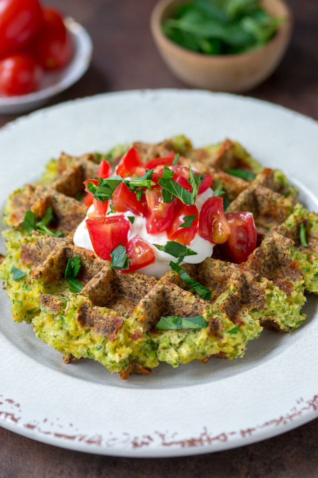 Gluten-Free Broccoli Cheddar Waffles - Broccoli rice and cheddar cheese are a match made in heaven in these delicious, savory waffles. Each waffle contains the equivalent of three servings of broccoli! | QueenofMyKitchen.com | #glutenfree #waffles #ricedveggies #ricedvegetables #broccoli #broccolirice