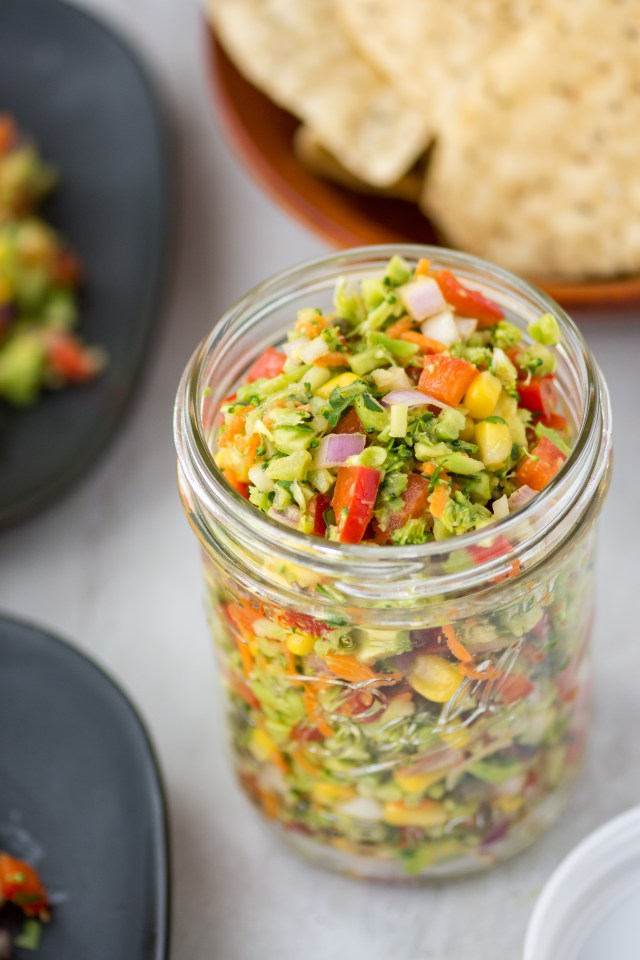 Broccoli Salsa - A clean eating, no-cook salsa made from broccoli rice that's fresh, light, and delicious. | QueenofMyKitchen.com | #vegan #glutenfree #dairyfree #salsa #freshsalsa #broccoli #broccolirice #appetizer #appetizers #salad #salads #healthyrecipe #healthyrecipes