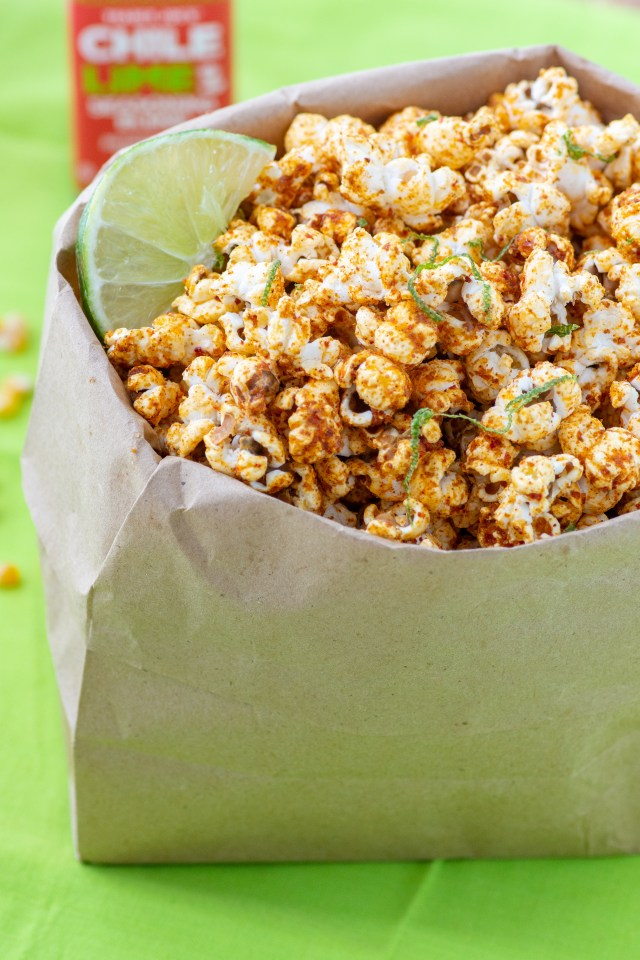 Sweet and Spicy Chile Lime Popcorn - A healthy, delicious, whole grain snack that can be ready to eat in under 10 minutes! The whole family will love this snack. Great for movie night. | QueenofMyKitchen.com #popcorn #snack #healthysnack #movienight #sweetandspicy #healthysnacks #wholegrain #wholegrainsnack #wholegrainsnacks