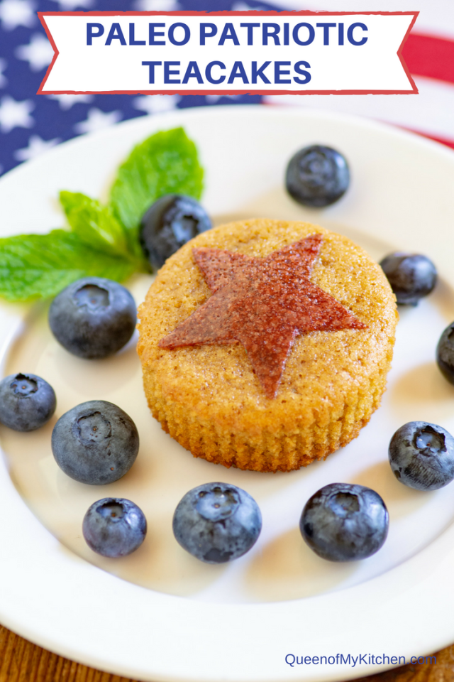Paleo Patriotic Teacakes - The perfect healthy treat for any patriotic holiday. An easy, gluten-free and paleo friendly recipe. So festive – your guests will love them! | QueenofMyKitchen #paleo #glutenfree #July4th #IndependenceDay #MemorialDay #LaborDay #patriotic #patriioticfood