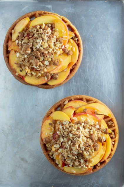 Peach Waffle Crisp - An inventive take on traditional fruit crisp and a great make-ahead dessert for peach season. Gluten-free. | QueenofMyKitchen.com | #glutenfree #peach #peaches #peachseason #peachdessert #peachdesserts #glutenfreedesserts #glutenfreedessert #waffle #waffles #dessertwaffle #fruitcrisp