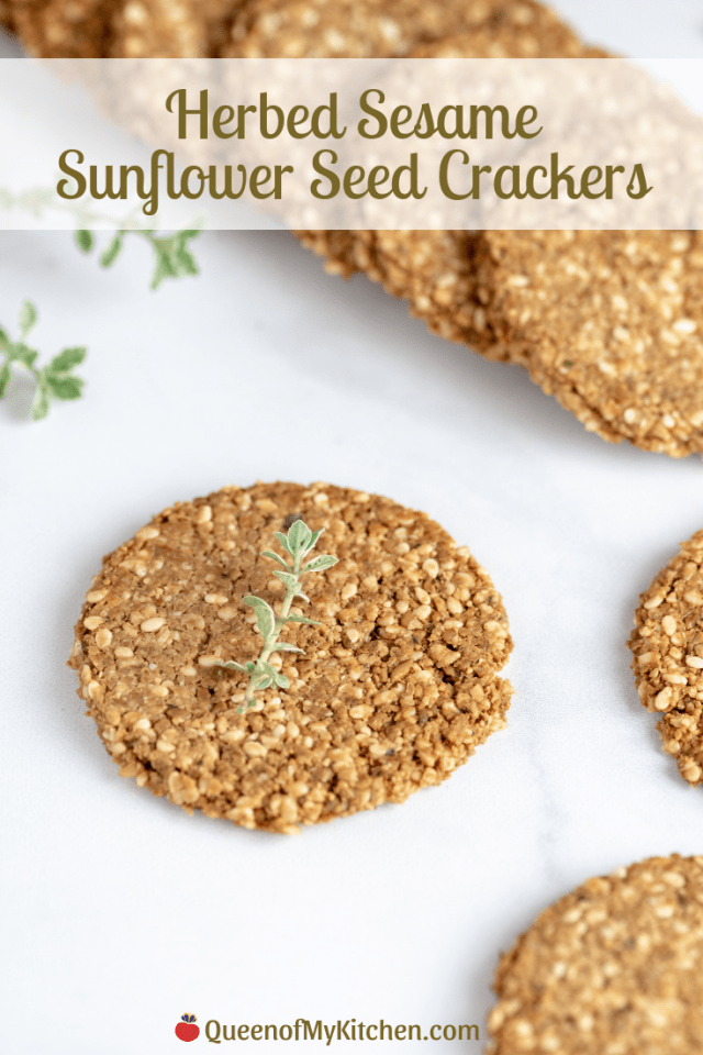 Herbed Sesame Sunflower Seed Crackers - Vegan, gluten-free, dairy-free crackers with a wholesome taste and tender texture. Super nutritious. Delicious dipped in hummus. | QueenofMyKitchen.com | #crackers #vegancrackers #glutenfreecrackers #dairyfreecrackers #vegansnack #vegansnacks #glutenfreesnack #glutenfreesnacks #dairyfreesnack #dairyfreesnacks #healthysnack #seeds