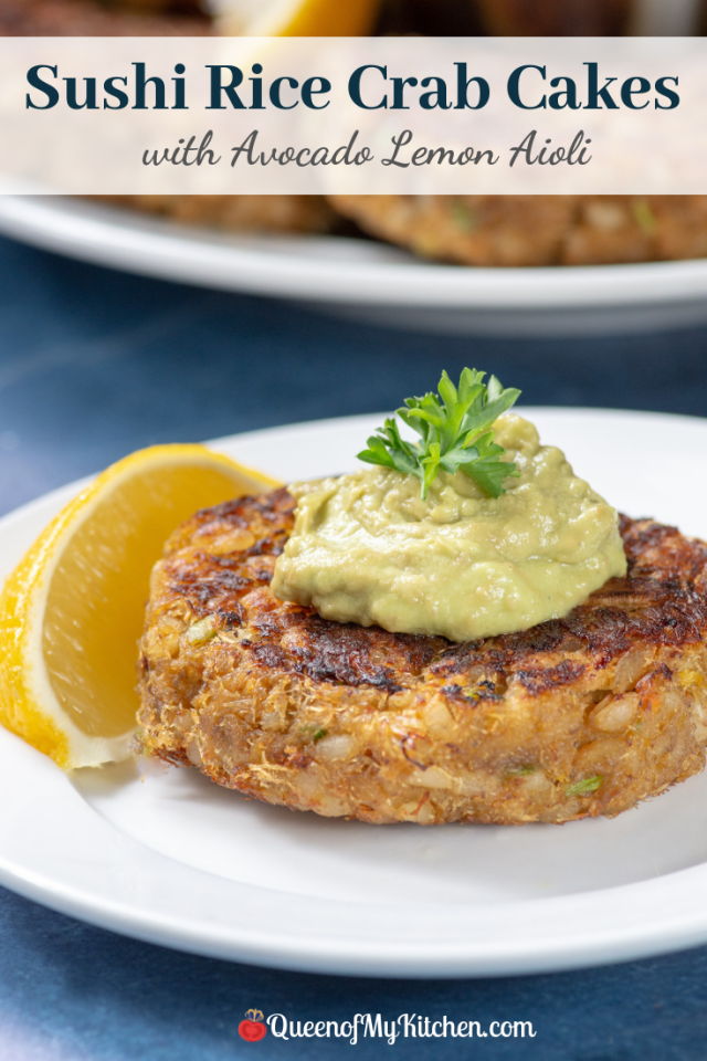 Sushi Rice Crab Cakes with Egg-Free Avocado Lemon Aioli - Cooked sushi rice is the binder is these gluten-free, dairy-free, egg-free, crab cakes made without breadcrumbs. Serve these delicious crab cakes on top of a salad or as a stand-alone appetizer. | QueenofMyKitchen.com | #appetizer #appetizers #crabcake #crabcakes #sushirice #seafood #glutenfree #dairyfree #eggfree #glutenfreeappetizer #gluenfreeappetizers #glutenfreedairyfree #glutenfreedairyfreeeggfree