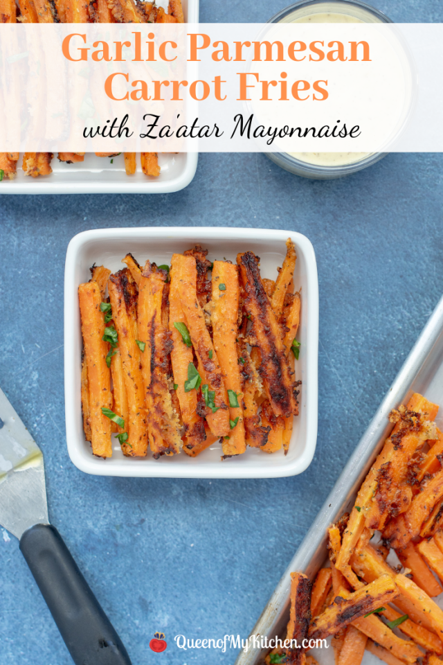 Garlic Parmesan Carrot Fries with Za'atar Mayonnaise - Carrots are cut into the shape of fries and roasted with garlic and Parmesan cheese then served with a delicious a middle eastern spiced mayonnaise. | QueenofMyKitchen.com | #carrots #roastedcarrots #zaatar #glutenfree #glutenfreerecipe #glutenfreerecipes #side #vegetables #sides #roastedvegetables