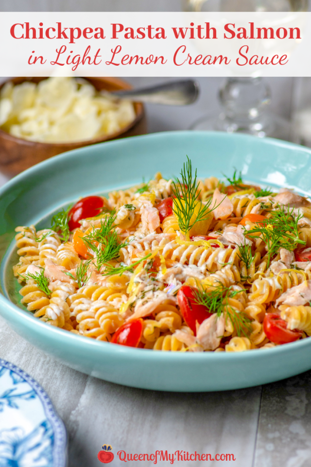 Chickpea Pasta with Salmon in Light Lemon Cream Sauce - Satisfy your pasta craving with this light, yet decadent, seafood dish made with gluten-free, protein and fiber-rich, chickpea pasta. | QueenofMyKitchen.com | #pasta #glutenfree #glutenfreepasta #chickpeapasta #seafoodrecipe #salmon