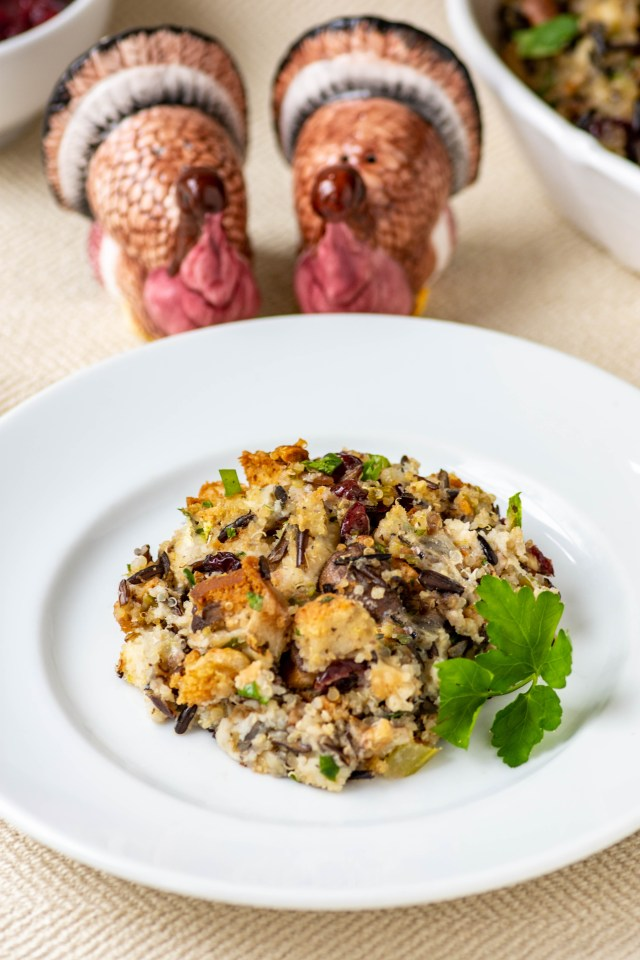 Best Ever Gluten-Free Stuffing – A wide assortment of super savory ingredients combine to make the most delicious Thanksgiving stuffing ever!   QueenofMyKitchen.com   #Thanksgiving #stuffing #turkey #dressing #glutenfreestuffing #glutenfreerecipe #glutenfreeholidayrecipes