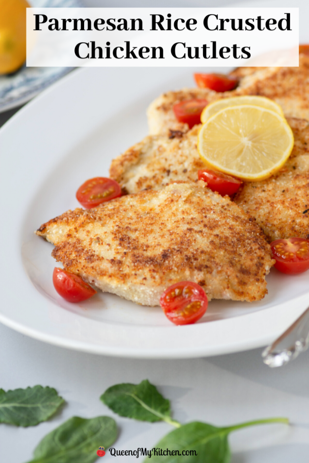 Parmesan Rice Crusted Chicken Cutlets - Golden delicious cutlets breaded with rice crumb made from ground puffed white rice. Gluten-free too.   QueenofMyKitchen.com   #chicken #chickencutlets #ricecrumbs #breadedcutlets #breadedchickencutlets #glutenfree #glutenfreerecipe