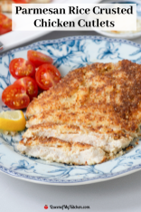 Parmesan Rice Crusted Chicken Cutlets - Golden delicious cutlets breaded with rice crumb made from ground puffed white rice. Gluten-free too. | QueenofMyKitchen.com | #chicken #chickencutlets #ricecrumbs #breadedcutlets #breadedchickencutlets #glutenfree #glutenfreerecipe