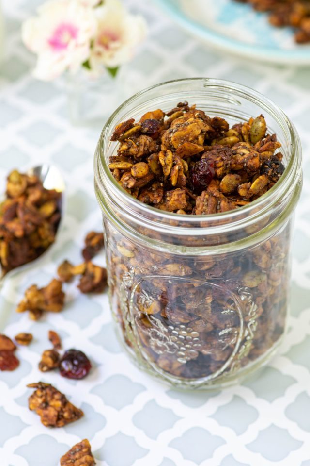 Pumpkin Spice Grain-Free Granola - An addictive grain-free granola chock-full nuts, seeds, and aromatic spices. Great as a trail mx type snack or on top of yogurt. | QueenofMyKitchen.com | #trailmix #grainfreegranola #granola #pumpkinseeds #pepitas