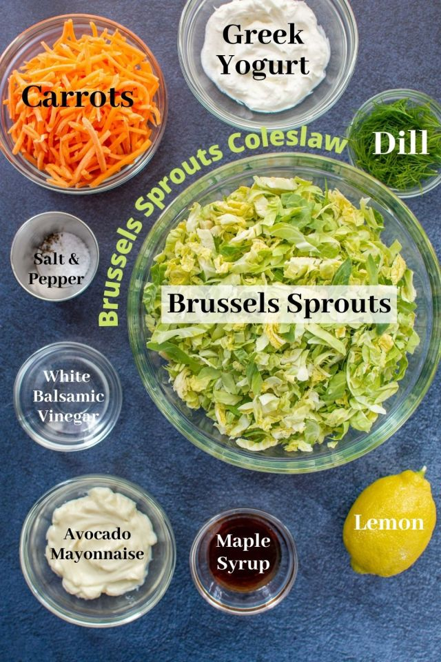 Brussels Sprouts Coleslaw – A fantastic alternative to traditional coleslaw in a healthier, lightened up dressing made with Greek yogurt and avocado mayonnaise. | QueenofMyKitchen.com | #coleslaw #brusselssprouts #salad #salads