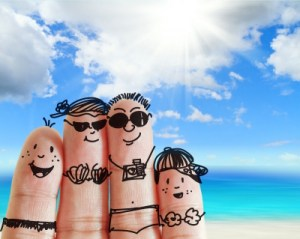 Finger family on the beach
