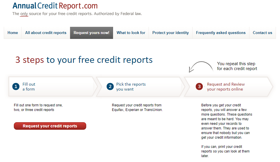 AnnualCreditReport.com free credit report request page