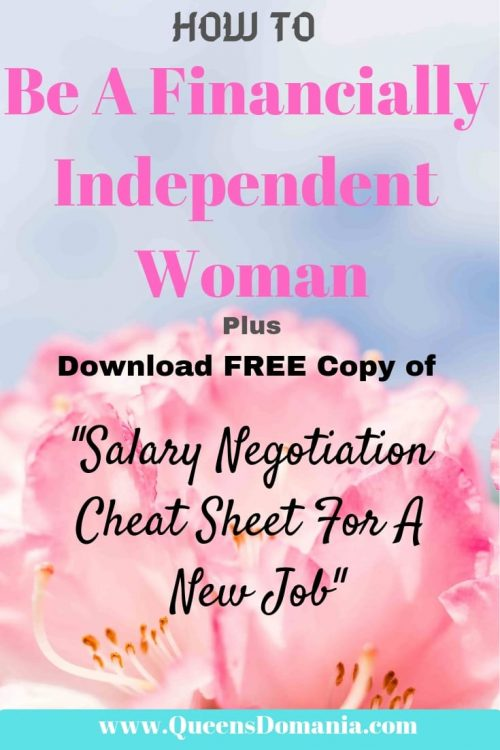 How to be a financially independent woman Pin image - QueensDomania.com