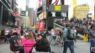 People watching at Times Square