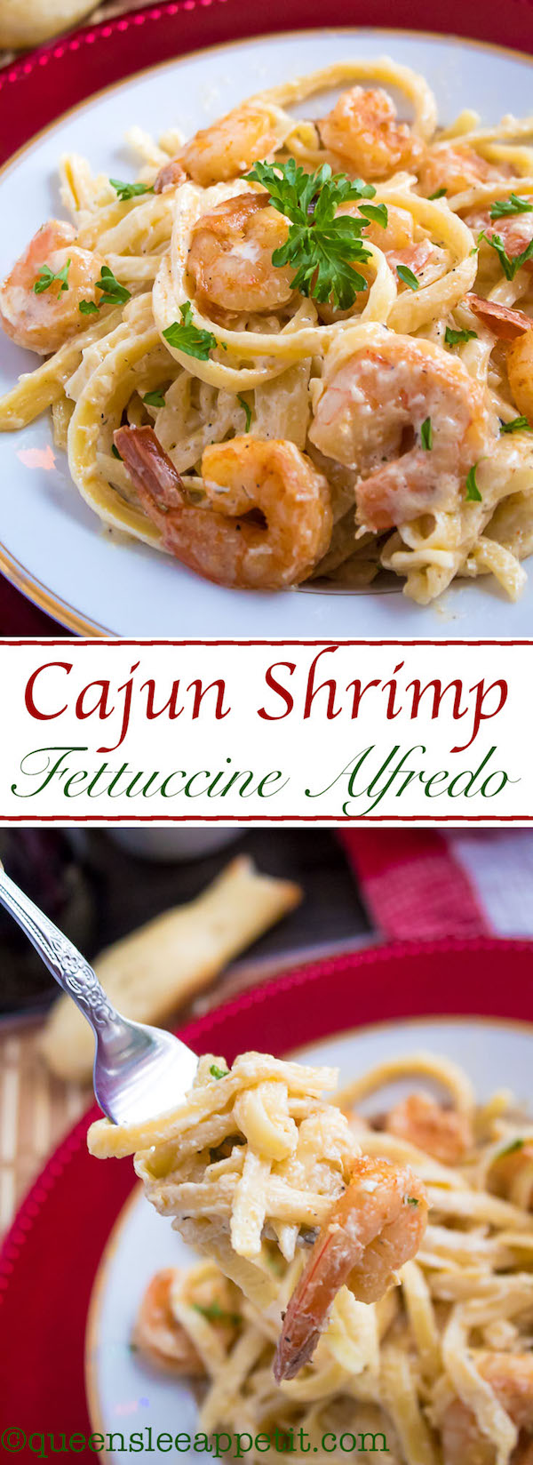 This Cajun Shrimp Fettuccine Alfredo is creamy and full of spicy Cajun flavour. Serve with a side of breadsticks for an easy and delicious pasta dinner!