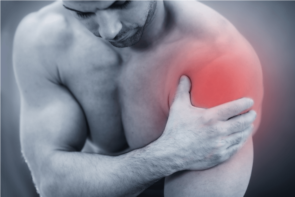 An image showing the location of shoulder pain