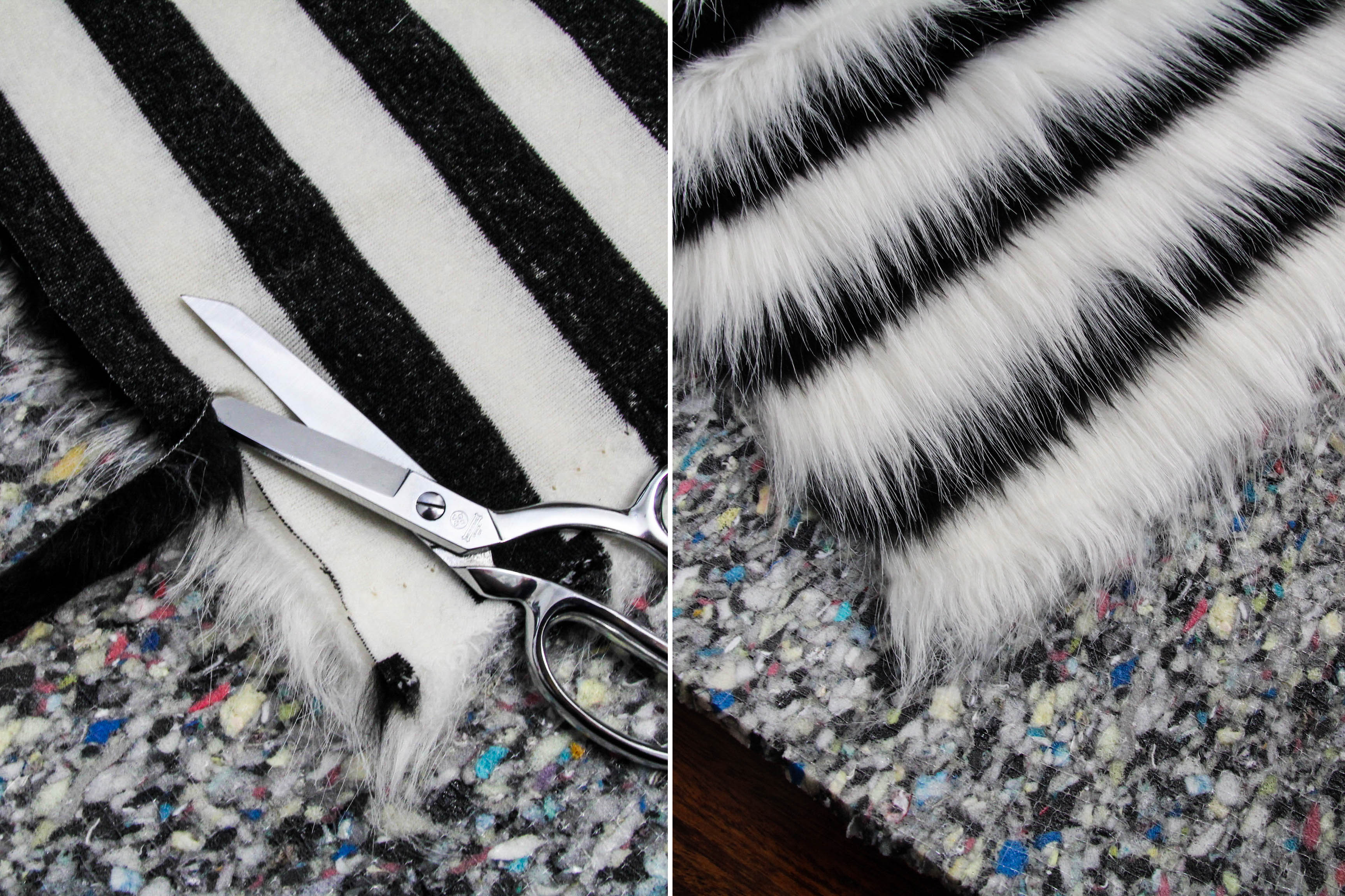 DIY faux fur rug - cut fur