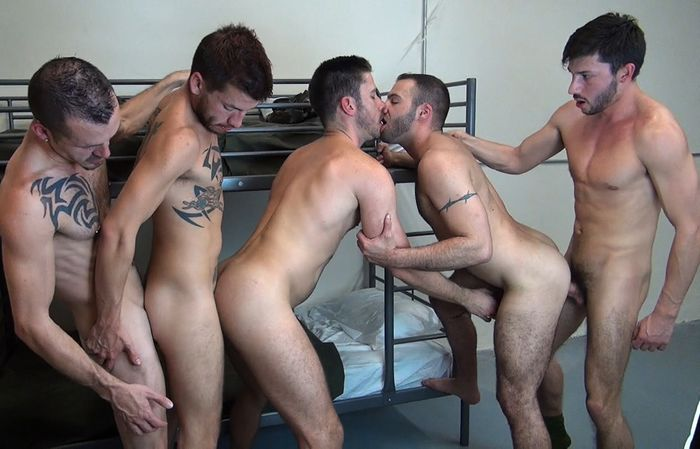 Bareback Barracks Fuckers Orgy Jimmie Slater Justin Case Owen Powers Scott DeMarco Braxton Smith