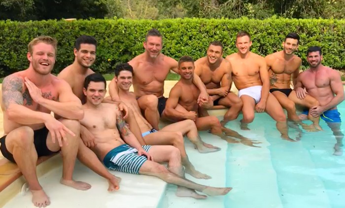 Gay Porn Stars Lucas Entertainment Shirtless Pool Interview Wet