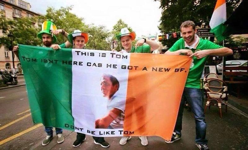 Bandera de hinchas irlandeses