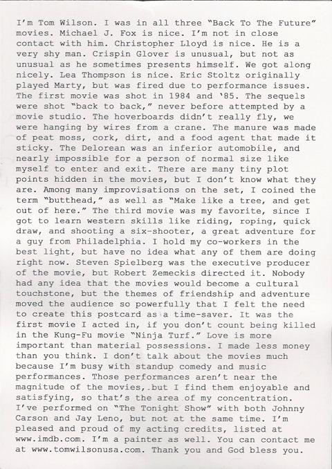 Carta de Biff Tannen, Volver al Futuro