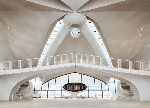 El lobby del nuevo twa hotel en Nueva York