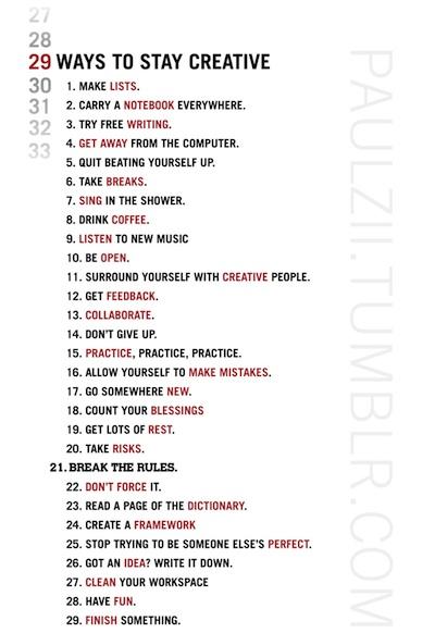 29 maneras de mantenerse creativo