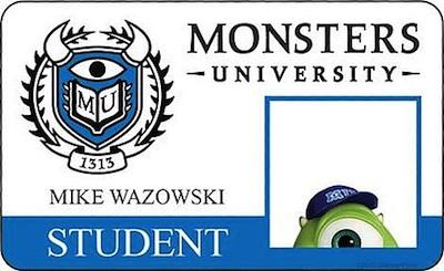 Monsters Inc 2: Credenciales de estudiantes
