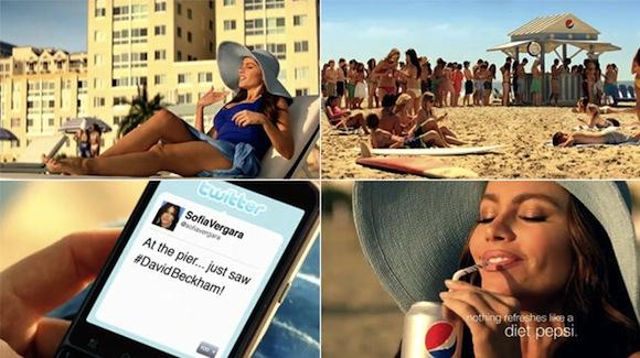 Publicidad de Pepsi con Sofia Vergara y David Beckham (Twitter)
