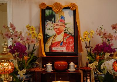 Di ảnh cố đại lão Hòa Thượng Thích Như Đạt tại chùa Phật Quang, Huntington Beach. (Hình: Linh Nguyễn/Người Việt)