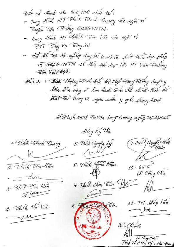Thủ bút trang 2 Biên bản với các chữ ký