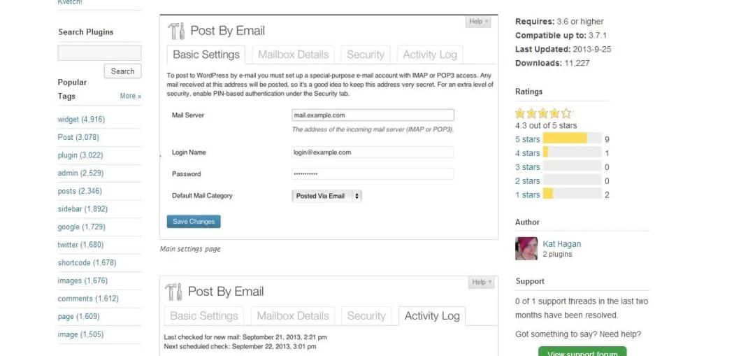 publicar una entrada por correo con el plugin Post by mail