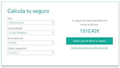 seguro de responsabilidad civil sanitaria calculo online