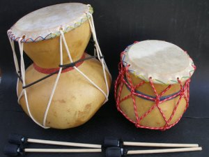 home made gourd drums