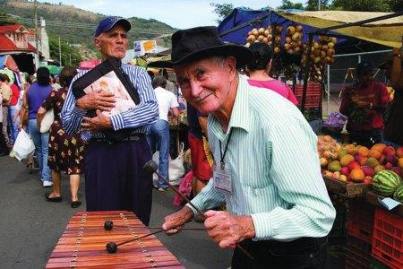 Traditional Tico marimba player