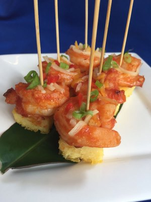 Shrimp and grits on a stick